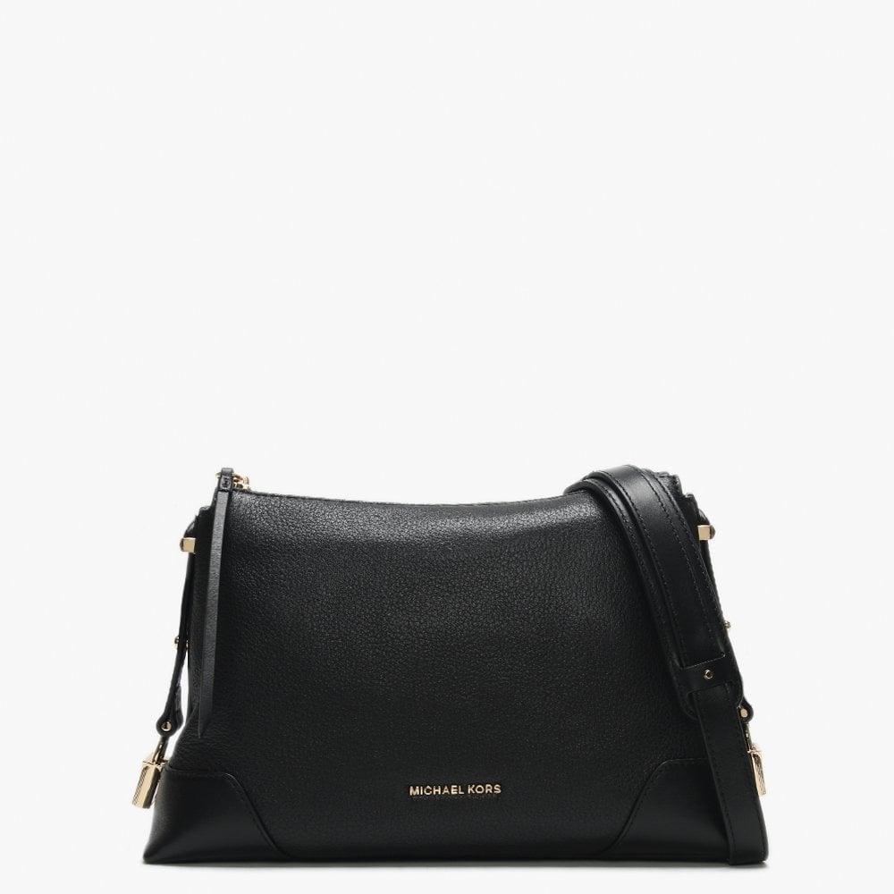 aff797c8d8ec Michael Kors - Medium Crosby Black Pebbled Leather Messenger Bag - Lyst.  View fullscreen