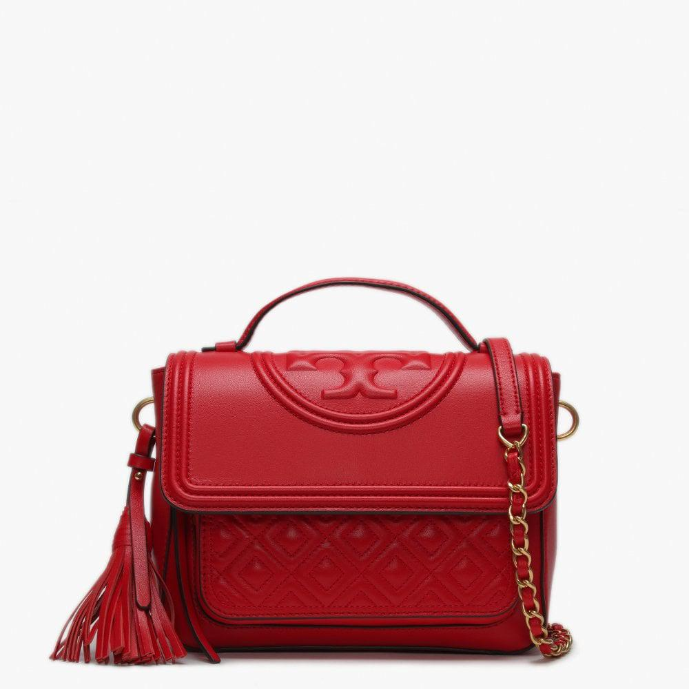13fa9e0708a8 Lyst - Tory Burch Fleming Brilliant Red Leather Quilted Satchel Bag ...