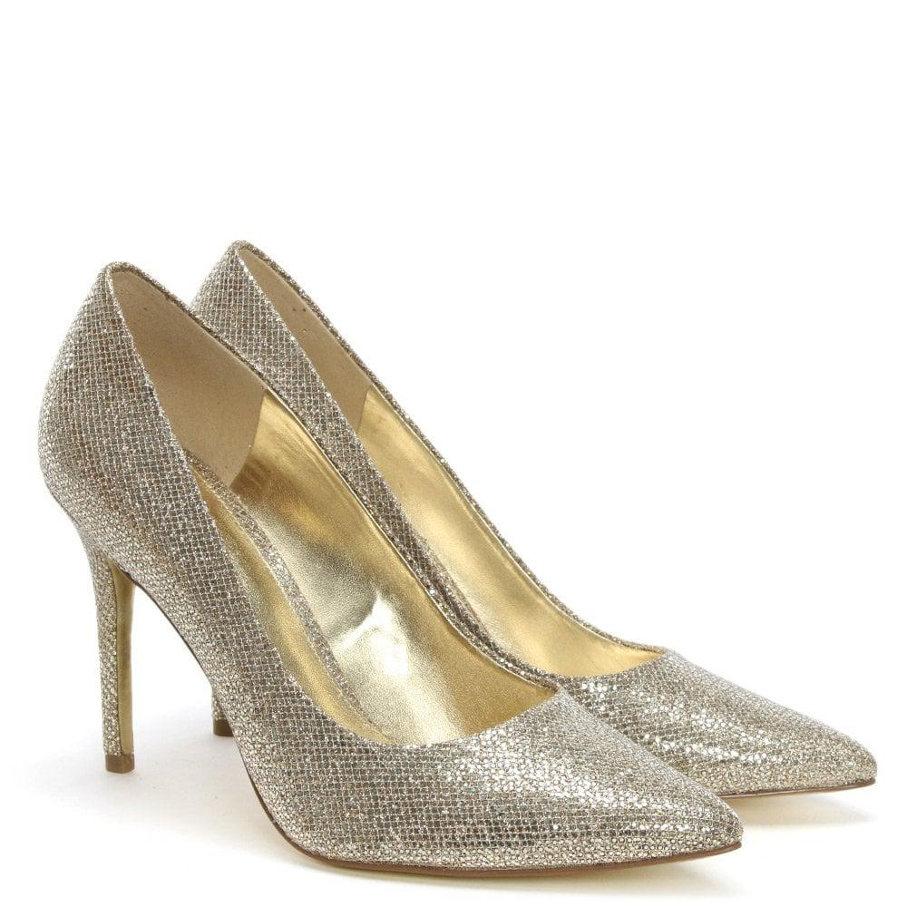 34d3896e6439 Lyst - Michael Kors Claire Silver   Sand Glitter Mesh Pumps in Metallic