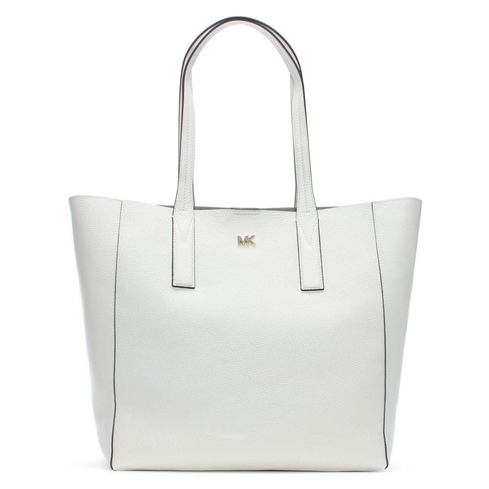 5b82a1b6b42c0 Michael Kors. Women s Large Junie Optic White Pebbled Leather Tote Bag
