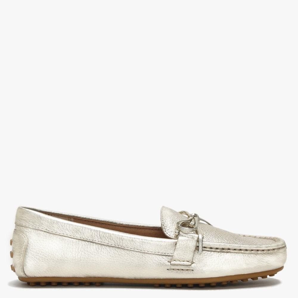 3a1a382ba25 Lyst - Lauren by Ralph Lauren Briley Ii Gold Leather Loafers in Metallic