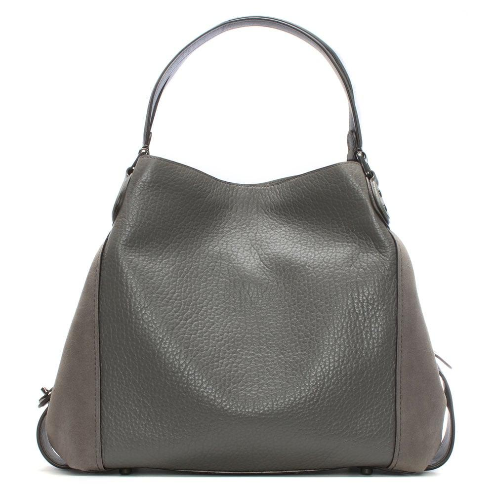 c4b7dd275ba53 Coach Edie 42 Grey Leather Shoulder Bag in Gray - Lyst