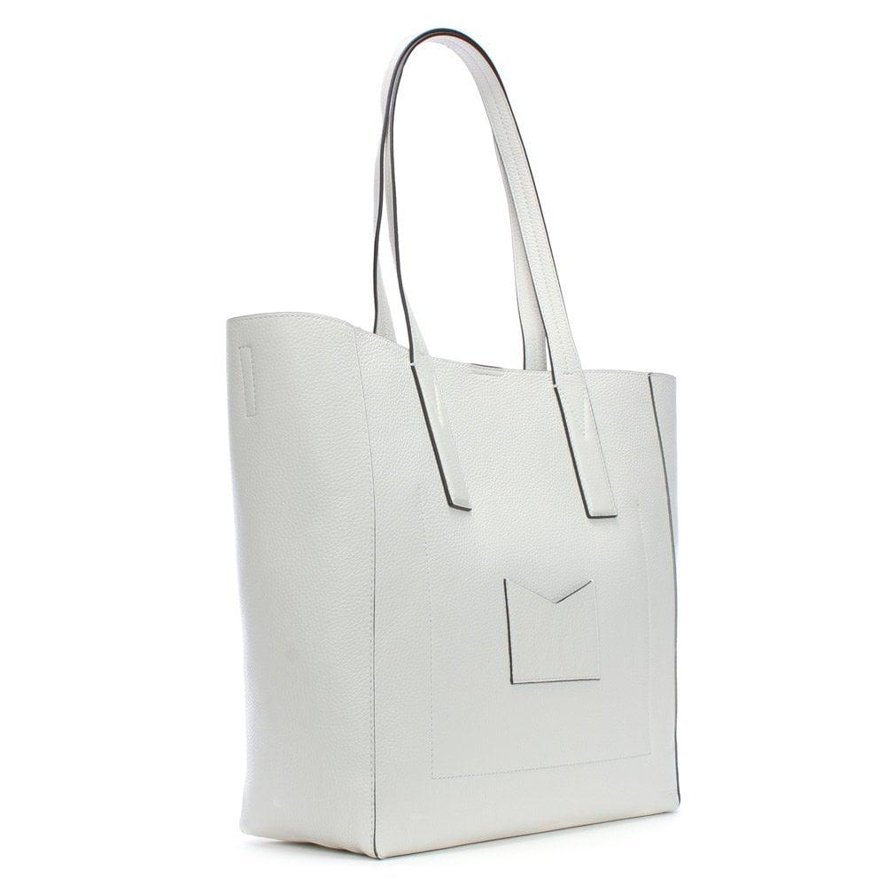 36a36c09ce8be Michael Kors - Large Junie Optic White Pebbled Leather Tote Bag - Lyst.  View fullscreen