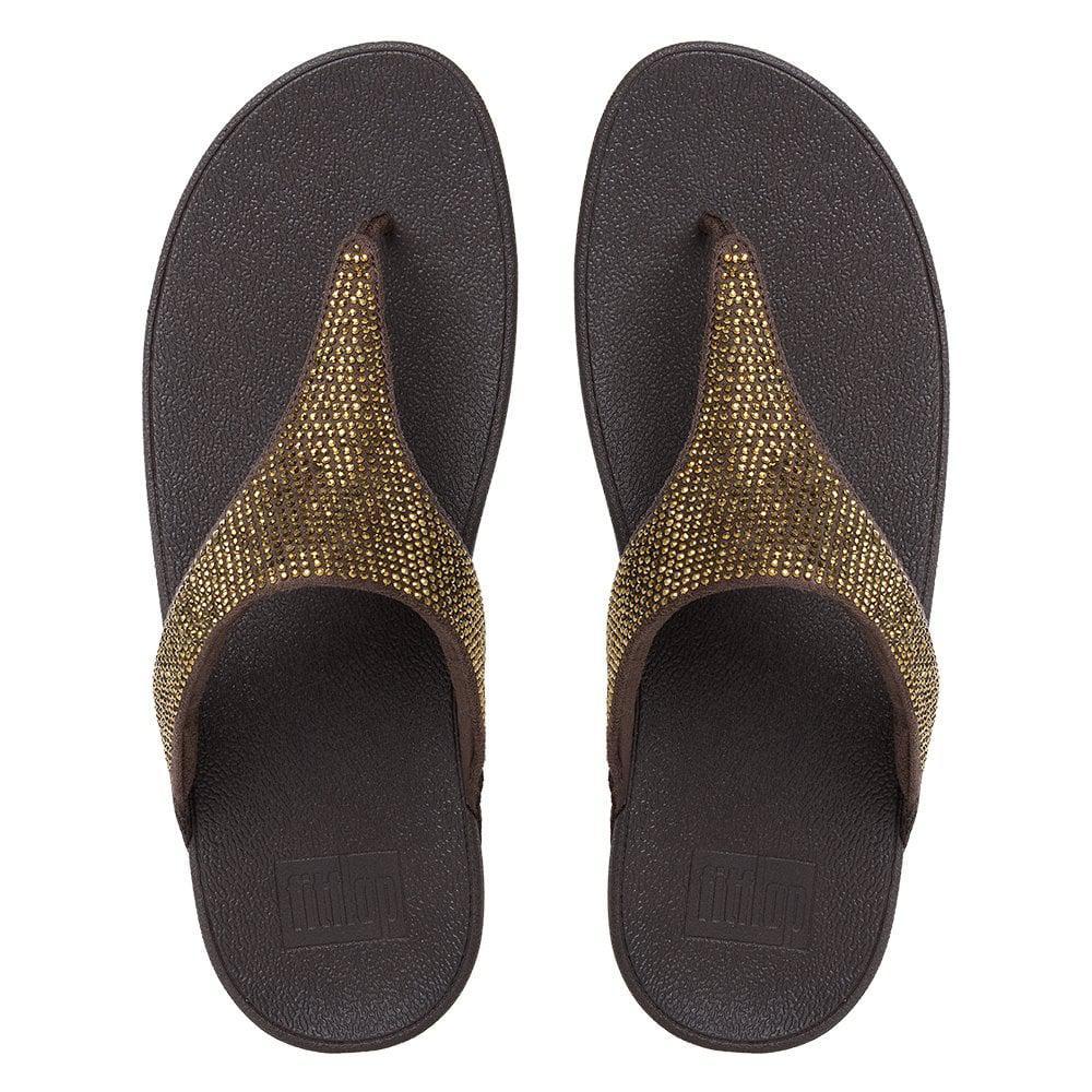 dffe50443aa Fitflop - Brown Slinky Rokkit Bronze Jewelled Toe Post Sandals - Lyst. View  fullscreen