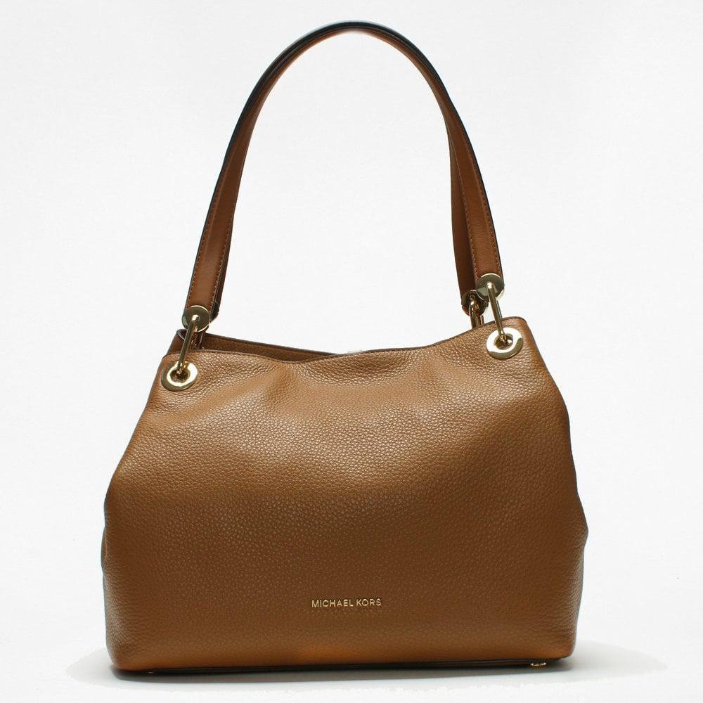 08c48e297b6 Michael Kors - Brown Raven Large Acorn Leather Shoulder Bag - Lyst. View  fullscreen