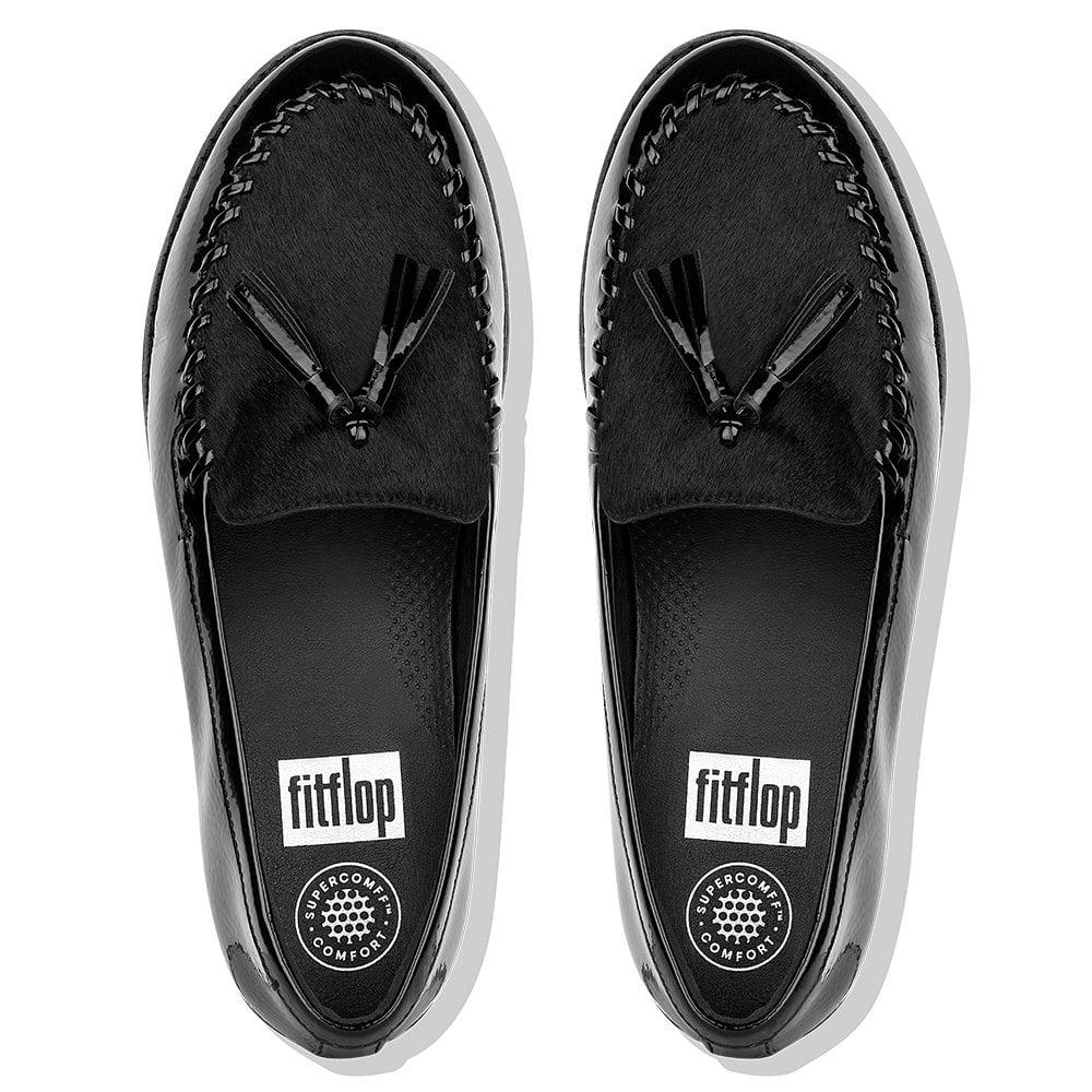 e6754ee00067f6 Fitflop - Petrina Black Patent Leather Loafers - Lyst. View fullscreen