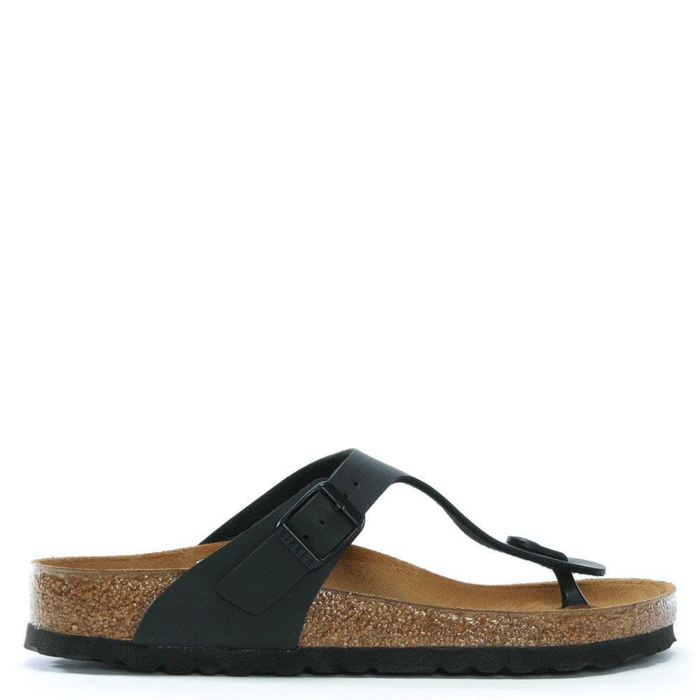 3353712a226287 Birkenstock Gizeh Black Birko-flor Toe Post Sandals in Black - Lyst