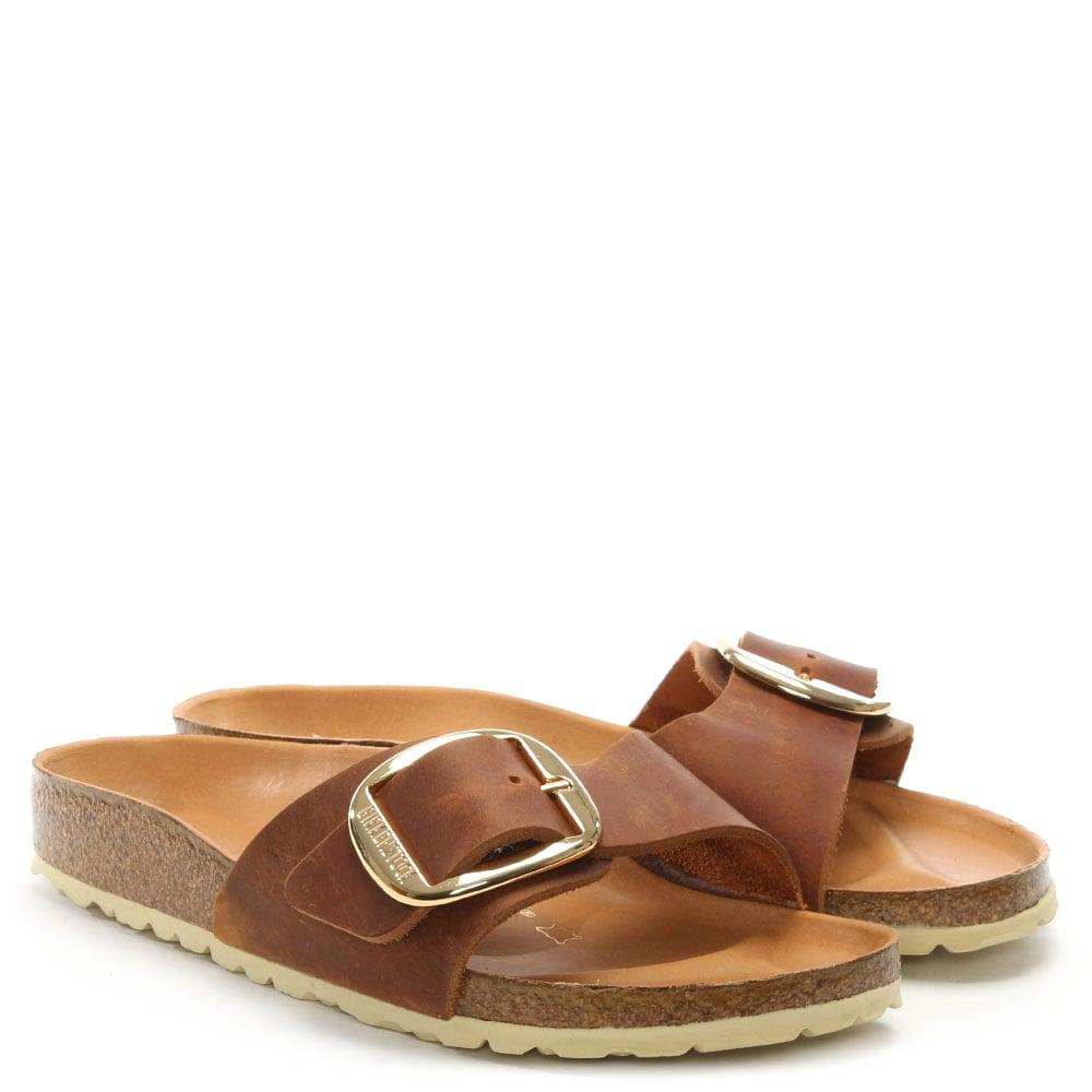 fa9eb2c8e50 Lyst - Birkenstock Birkenstock Madrid Big Buckle Tan Leather Mule in ...
