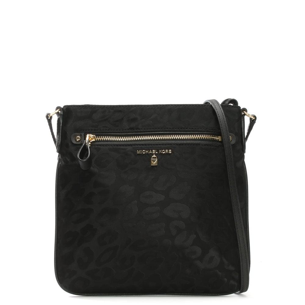 f42a383d56f51e Michael Kors Kelsey Black Nylon Leopard Print Cross-Body Bag in ...