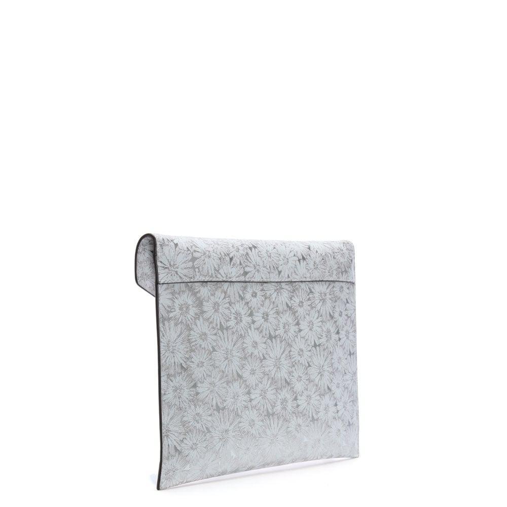 Michael Kors Barbara Large White Silver Metallic Fl Envelope Clutch Bag Lyst View Fullscreen