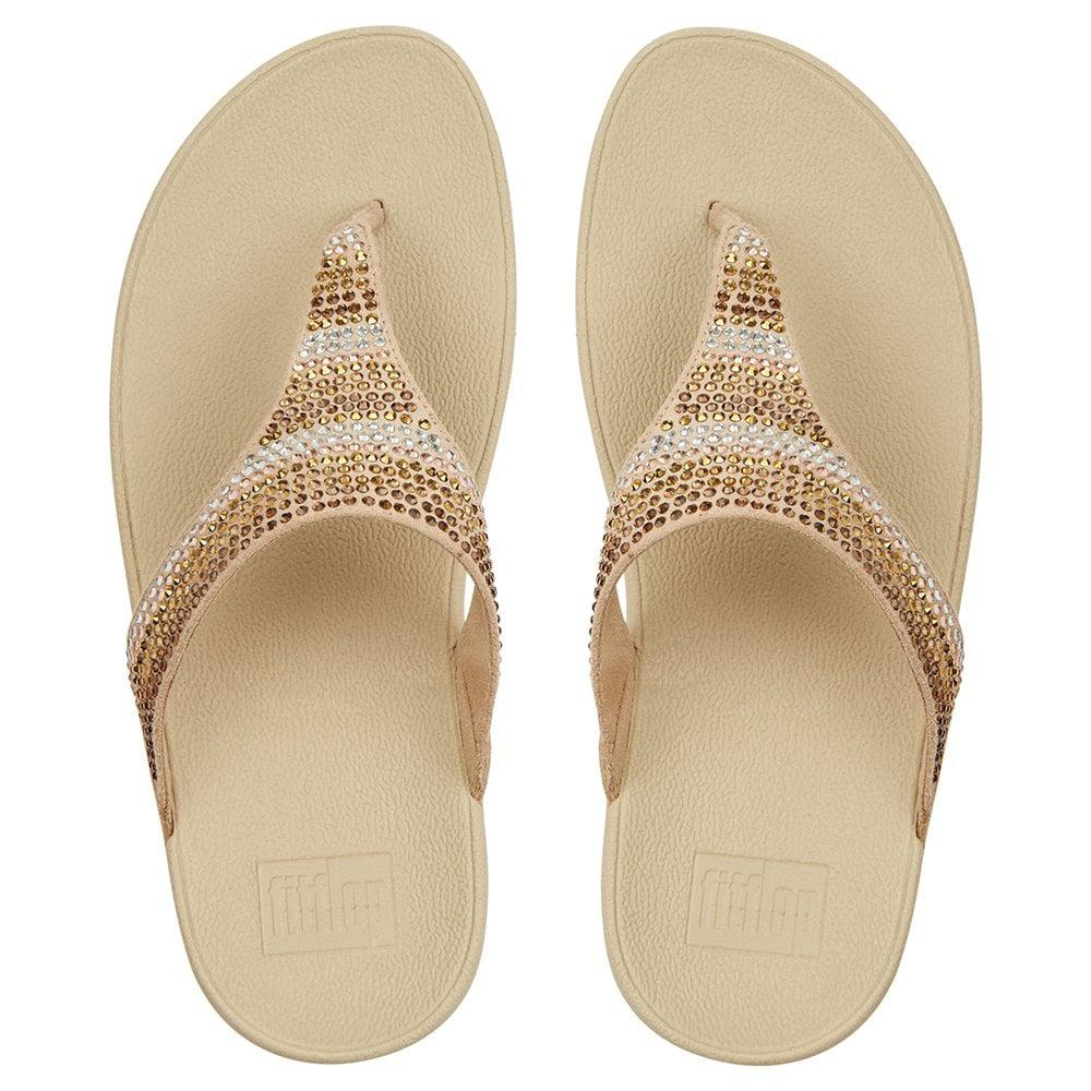 84308e1ef Fitflop - Metallic Strobe Embellished Gold Toe Post Flip Flops - Lyst. View  fullscreen