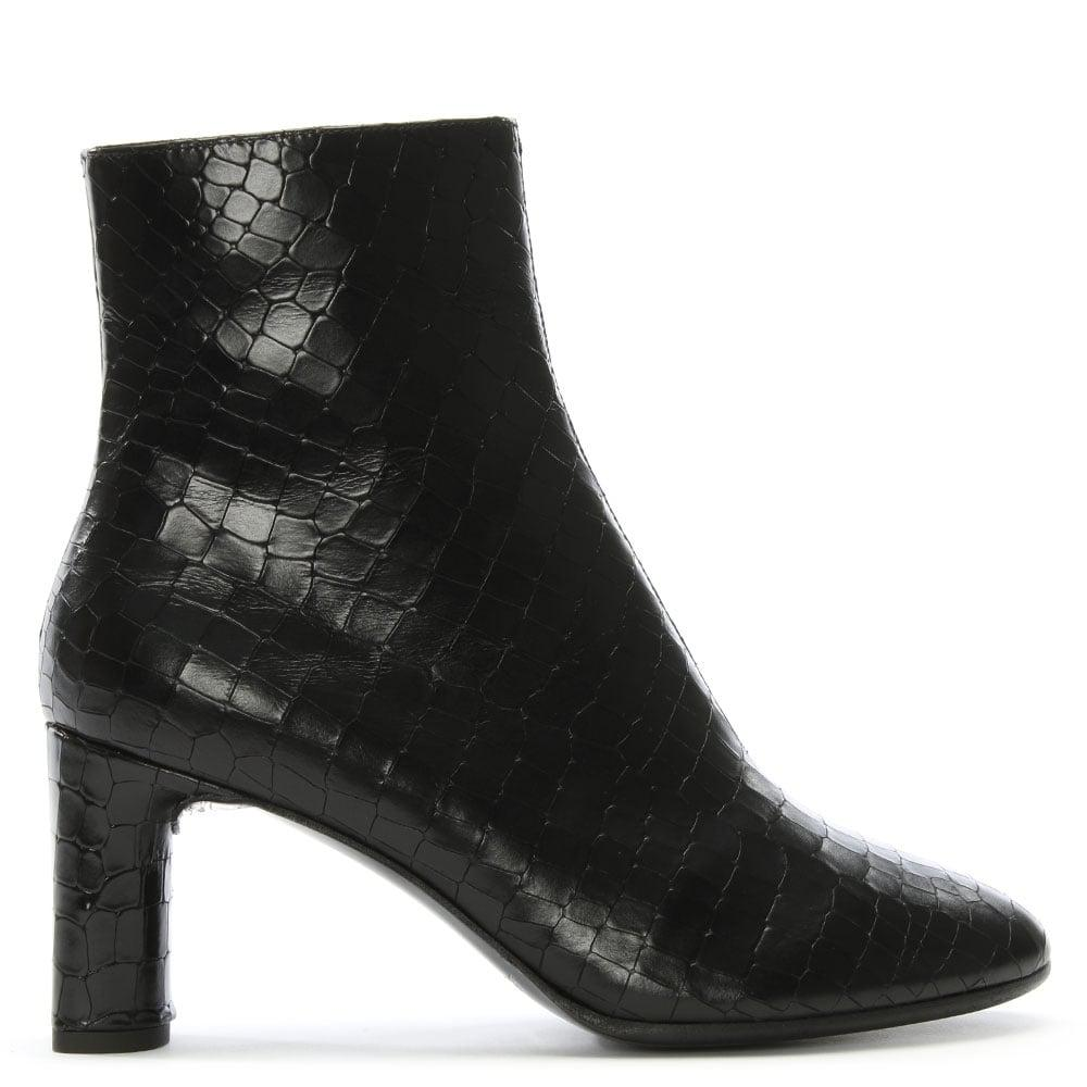 Robert Clergerie. Women's Elte Black Leather Reptile Ankle Boots