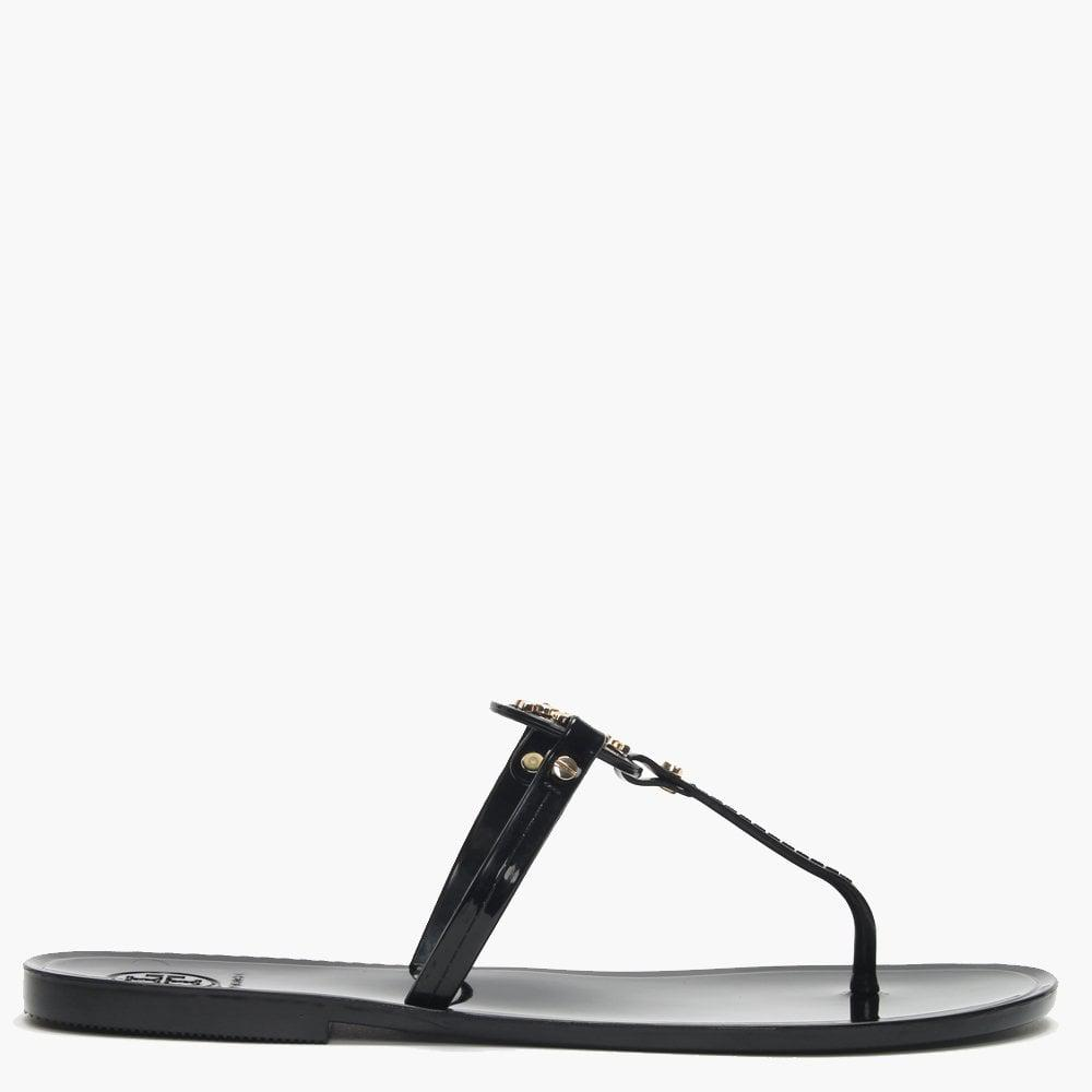 b6c190acfa8 Lyst - Tory Burch Mini Miller Ii Black Toe Post Flip Flops in Black ...