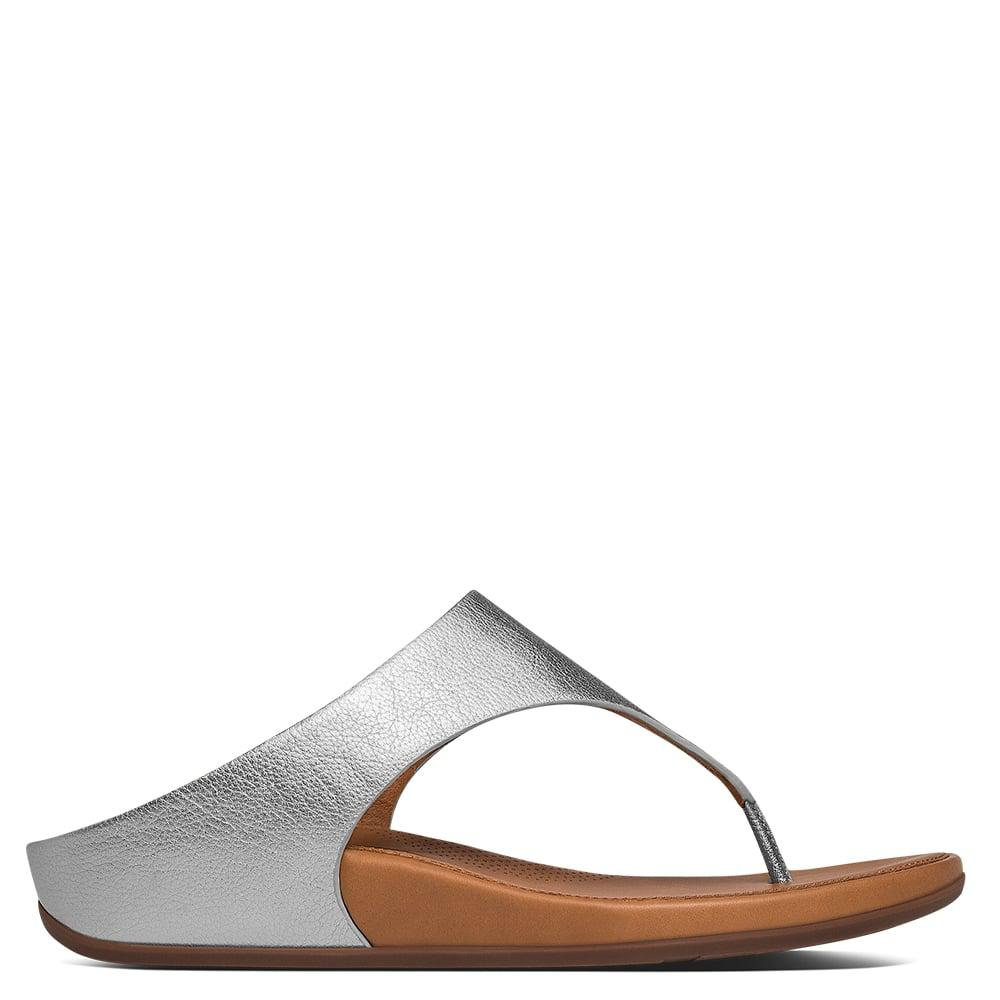 ff11b032e45b Lyst - Fitflop Banda Silver Leather Toe Post Sandals in Metallic