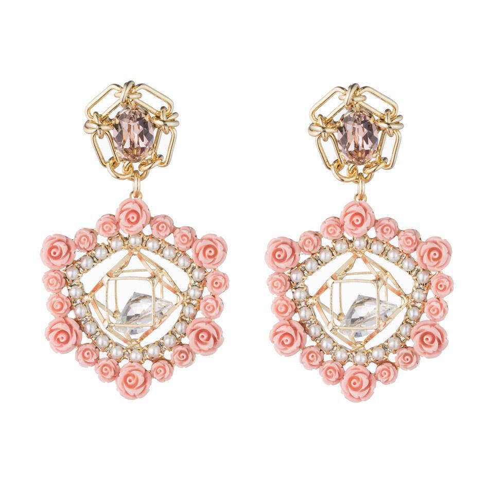 Dannijo Clock crystal pearl rose earrings Skkr8YE4Q