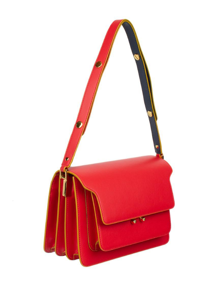 063a875d33a Marni Micro Trunk Leather Bag in Red - Save 34.698436336559936% - Lyst
