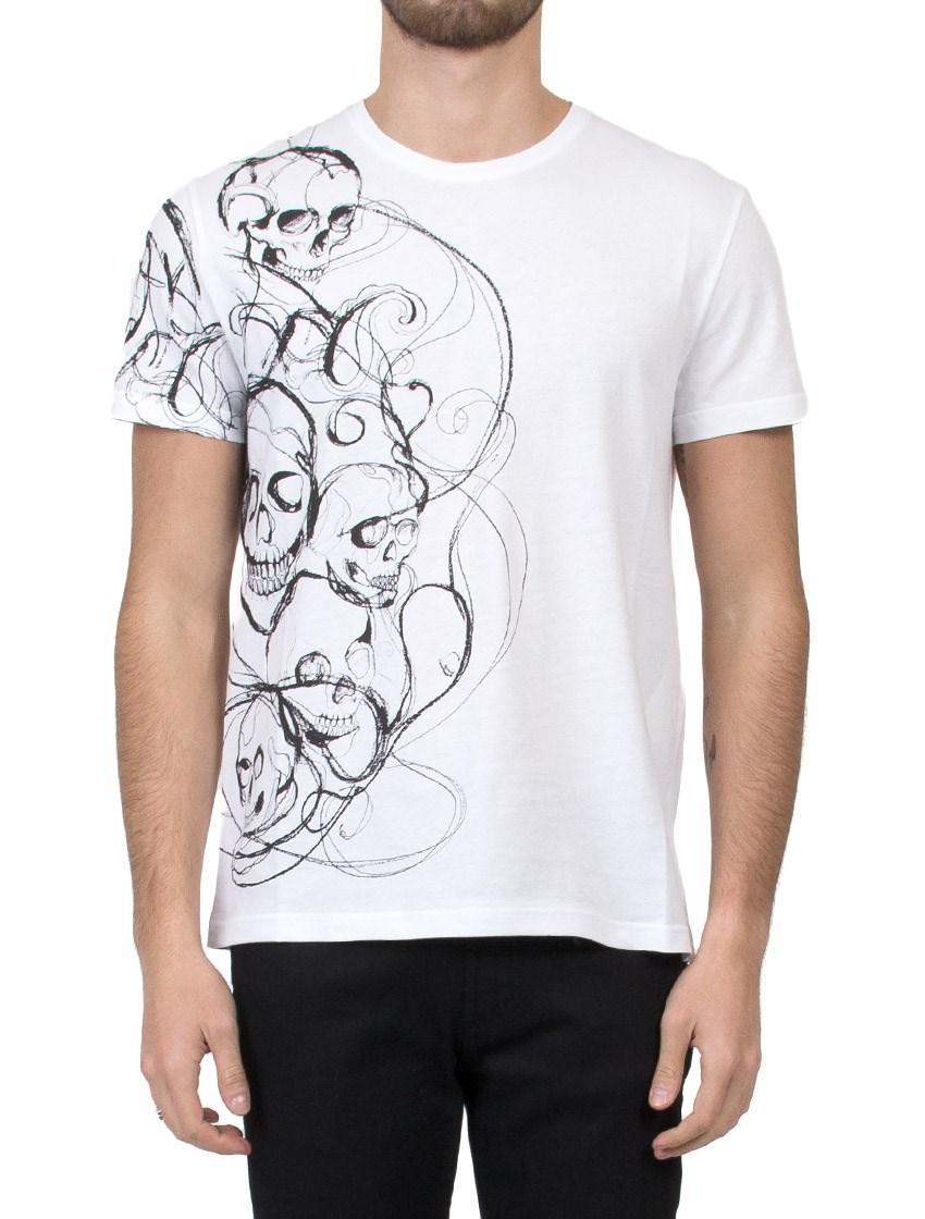 Alexander mcqueen skull print t shirt in white for men lyst for Alexander mcqueen shirt men