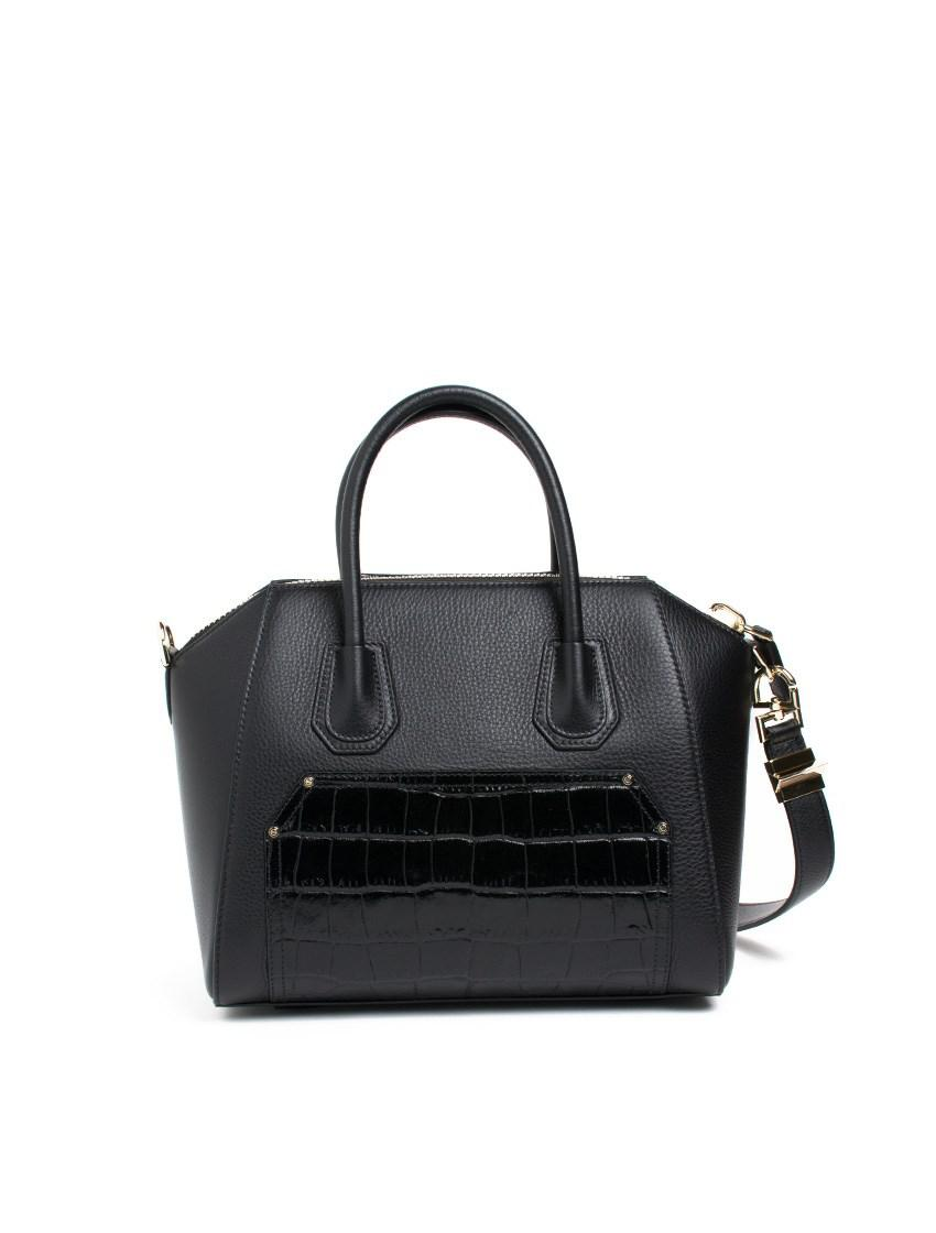 e5e80e2182 Givenchy 'antigona' Small Pebbled And Croc Embossed Leather Bag in ...