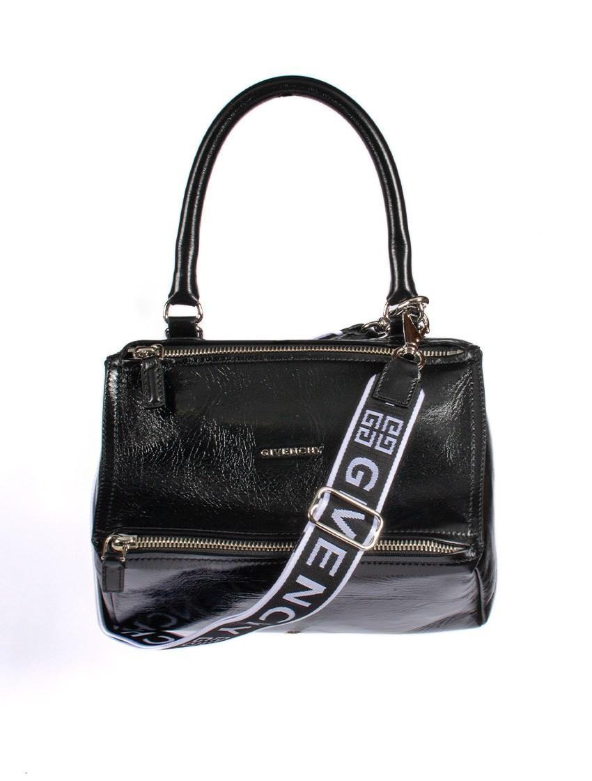 7fcc2402725a Lyst - Givenchy Small Pandora Patent Leather Shoulder Bag in Black
