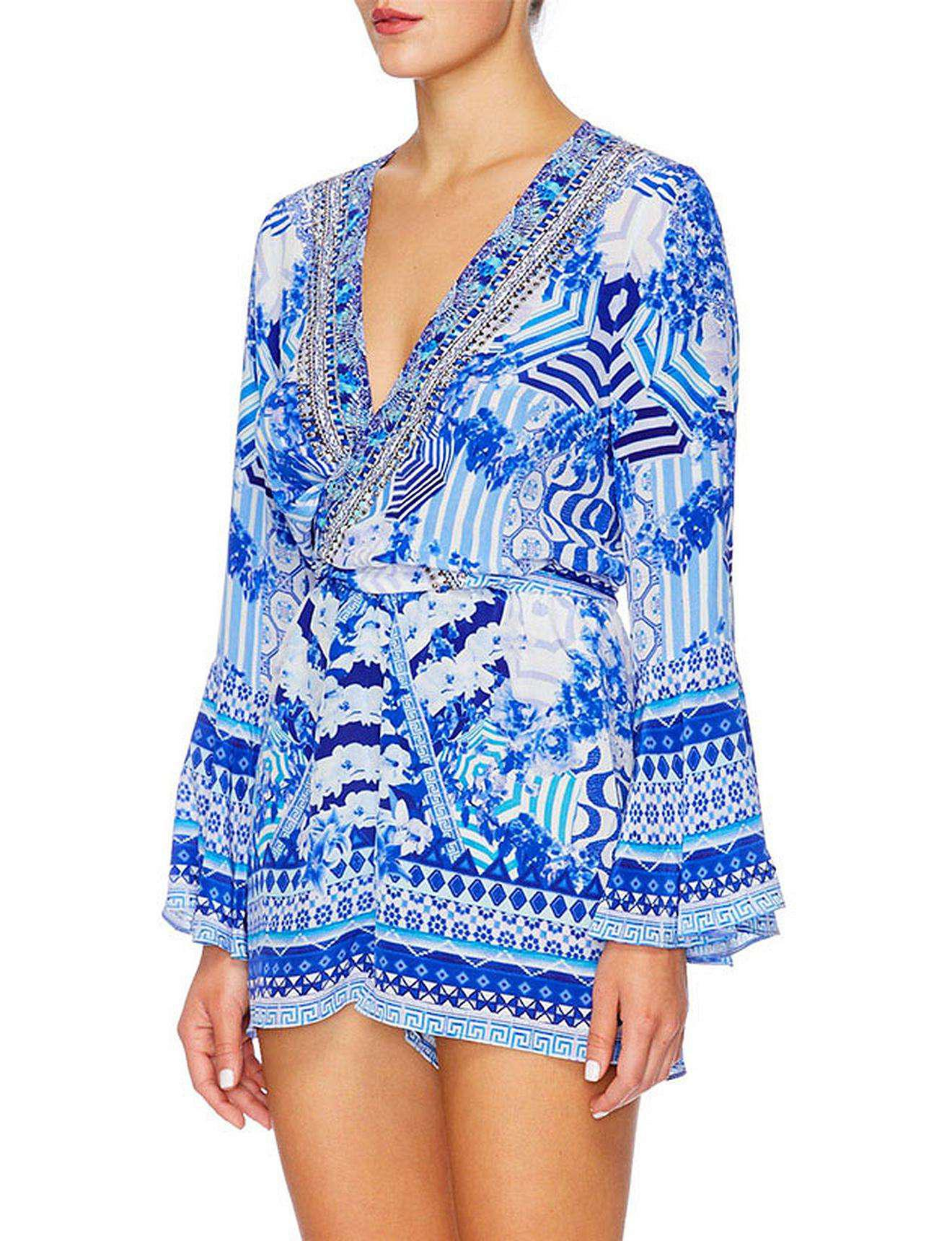 414879e5a91 Camilla Throwing Shade Shoe String Stap Playsuit- Smu in Blue - Lyst