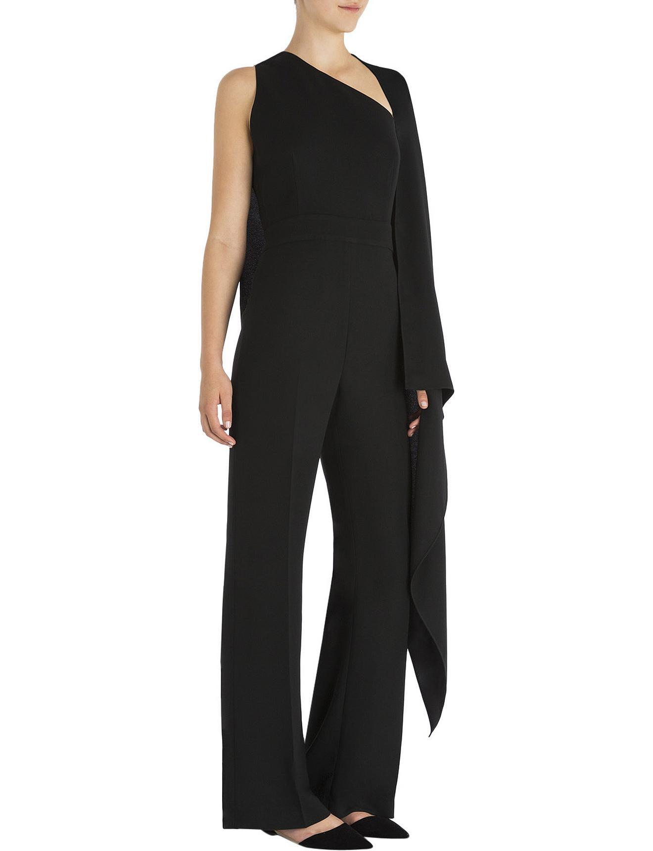 18ae85e625a Carla Zampatti Onyx Crepe Selene Caped Jumpsuit in Black - Lyst