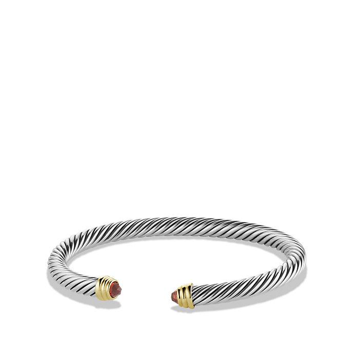Cable Classic blue topaz and diamond cuff bracelet - Metallic David Yurman