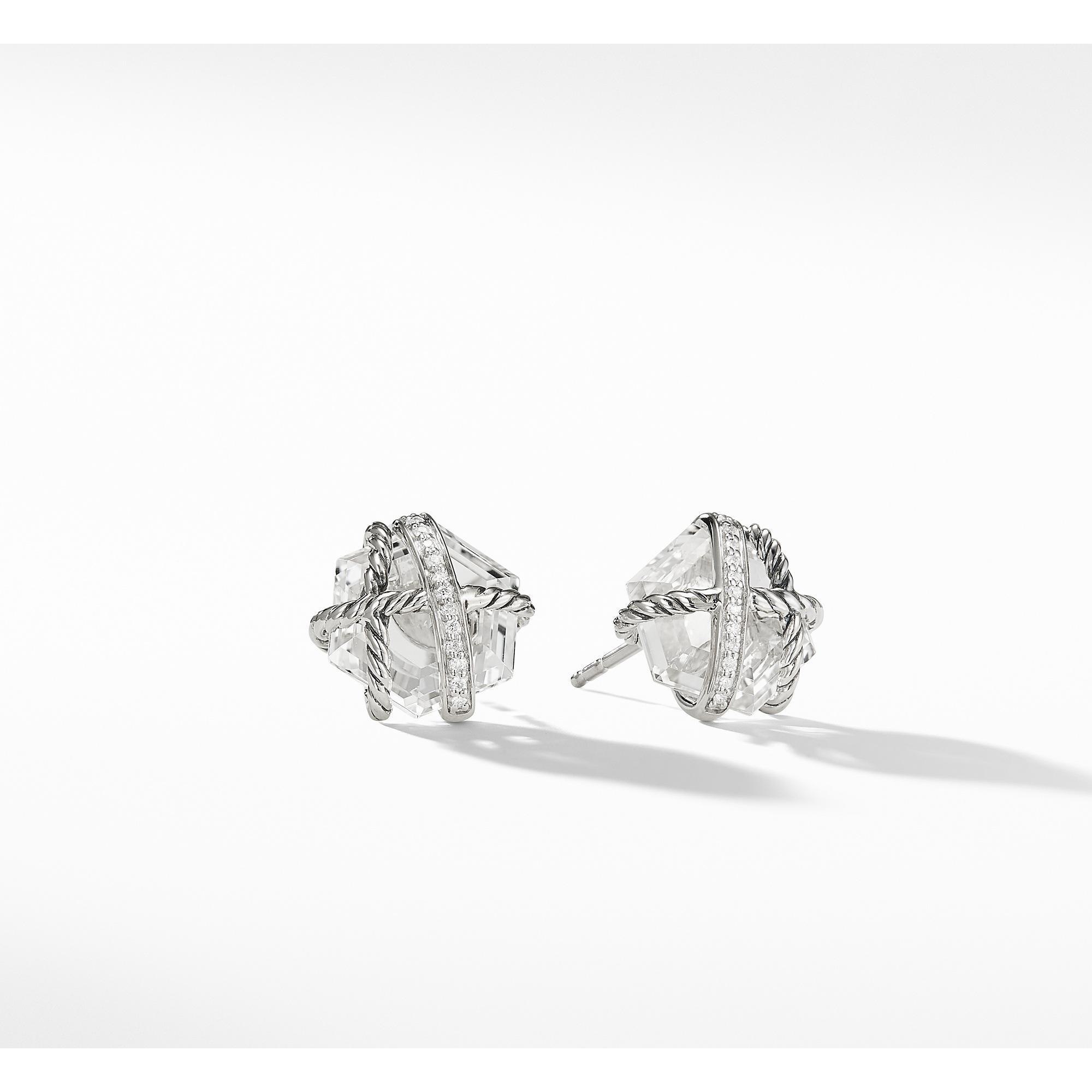 David Yurman Women S Cable Wrap Earrings With Crystal