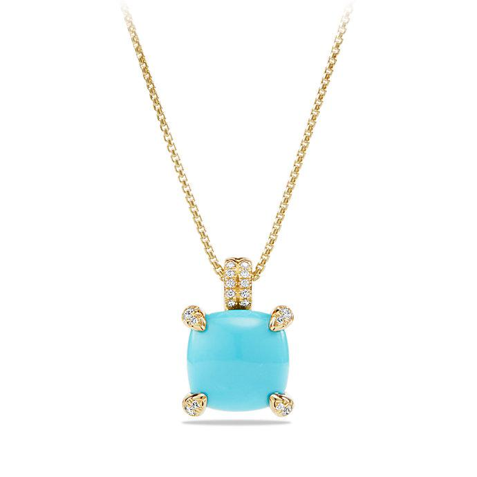 18kt yellow gold Chatelaine turquoise and diamond pendant necklace - Metallic David Yurman F6RmFPW