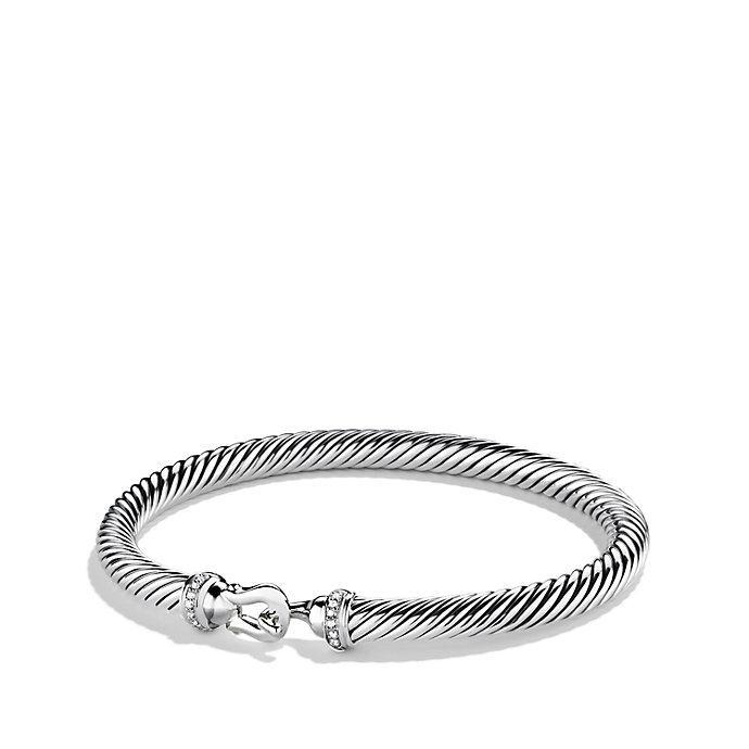 David Yurman 18kt yellow gold Cable Buckle pavé diamond bracelet - Metallic OzQUfiK4