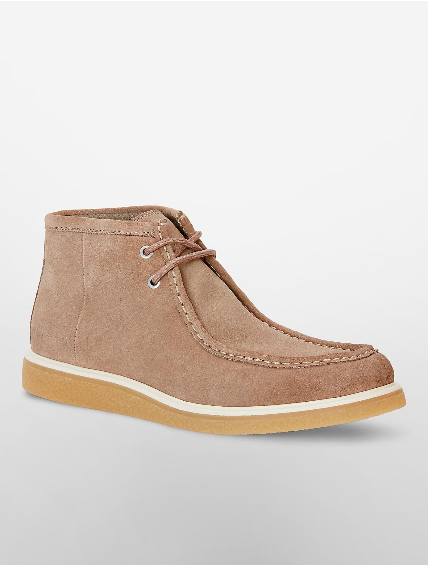 calvin klein fabien suede boot in brown for lyst
