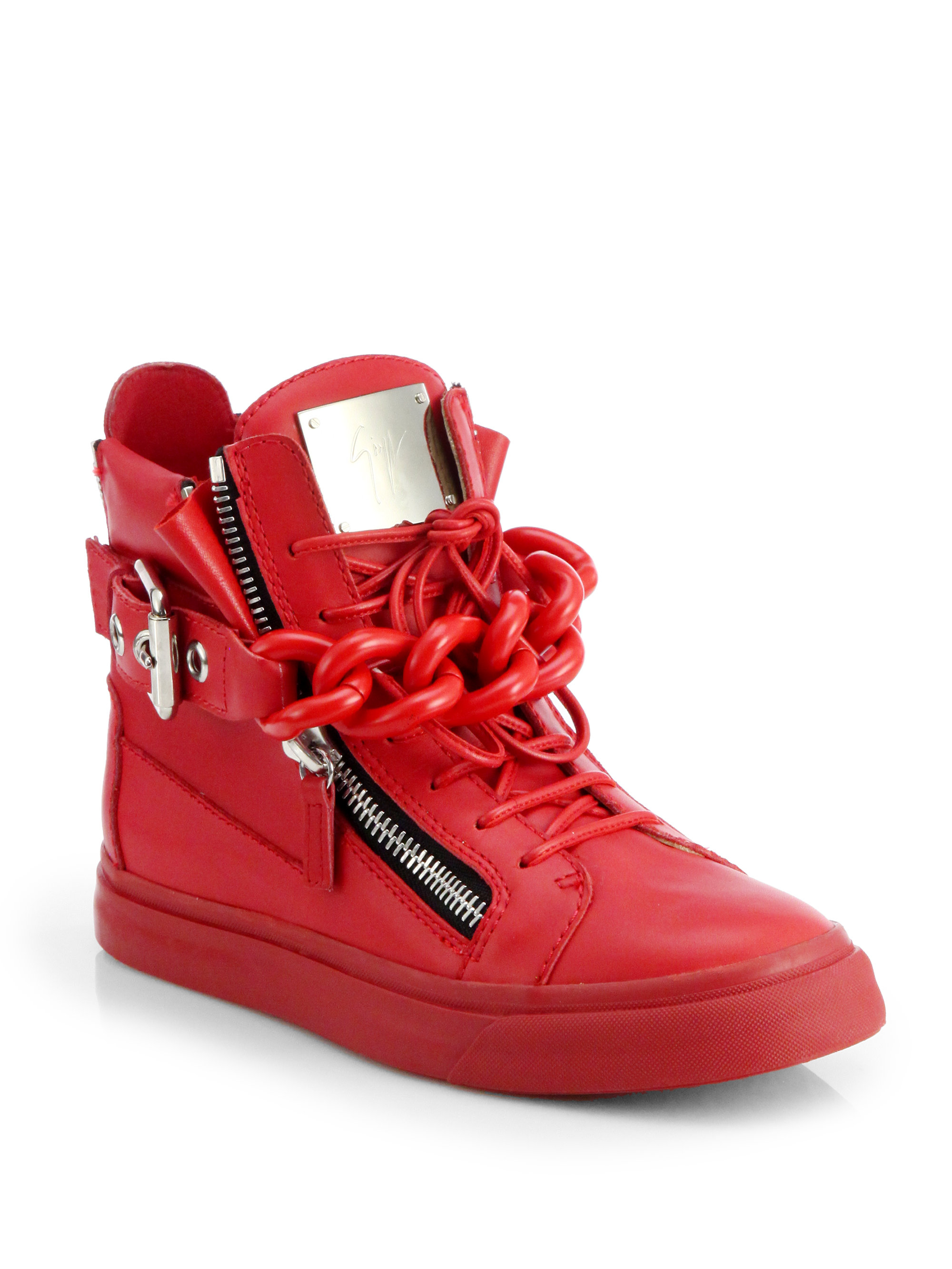 giuseppe zanotti tonal chain sneakers in red lyst. Black Bedroom Furniture Sets. Home Design Ideas