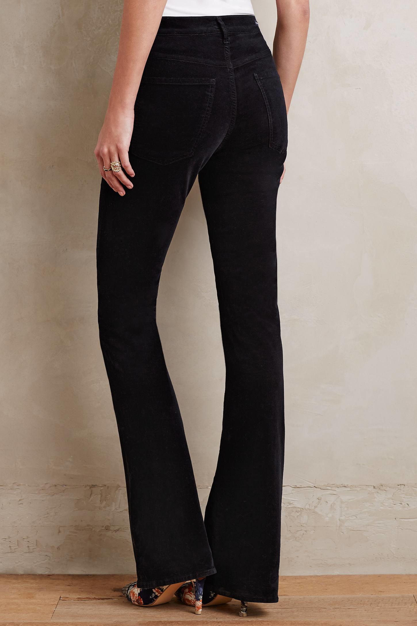 Citizens of humanity Fleetwood Velvet Flare Jeans in Black | Lyst