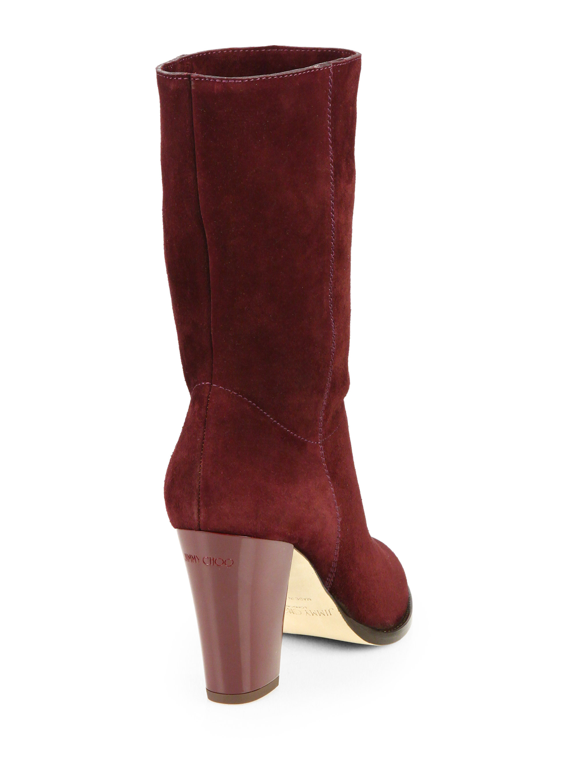 Lyst Jimmy Choo Music Suede Slouchy Midcalf Boot In Red