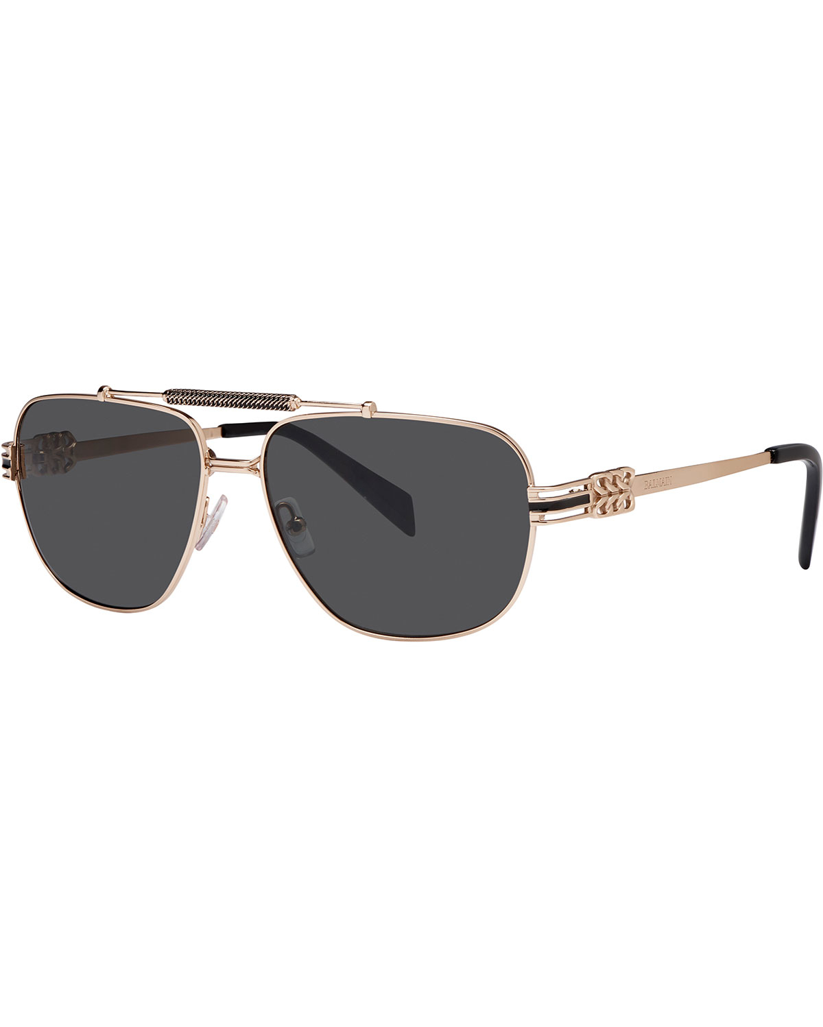 Balmain Aviator Sunglasses  balmain metal chain rim rectangle aviator sunglasses in metallic