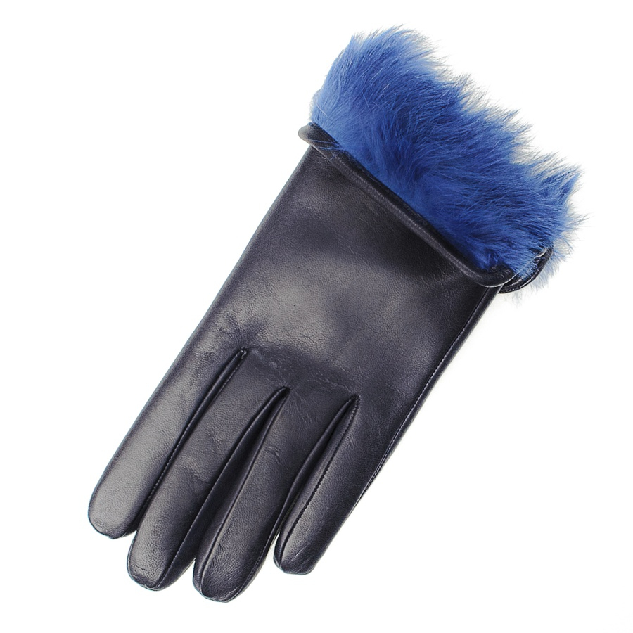 3816cf09e Black.co.uk Ladies Navy Blue Rabbit Fur Lined Italian Leather Gloves ...