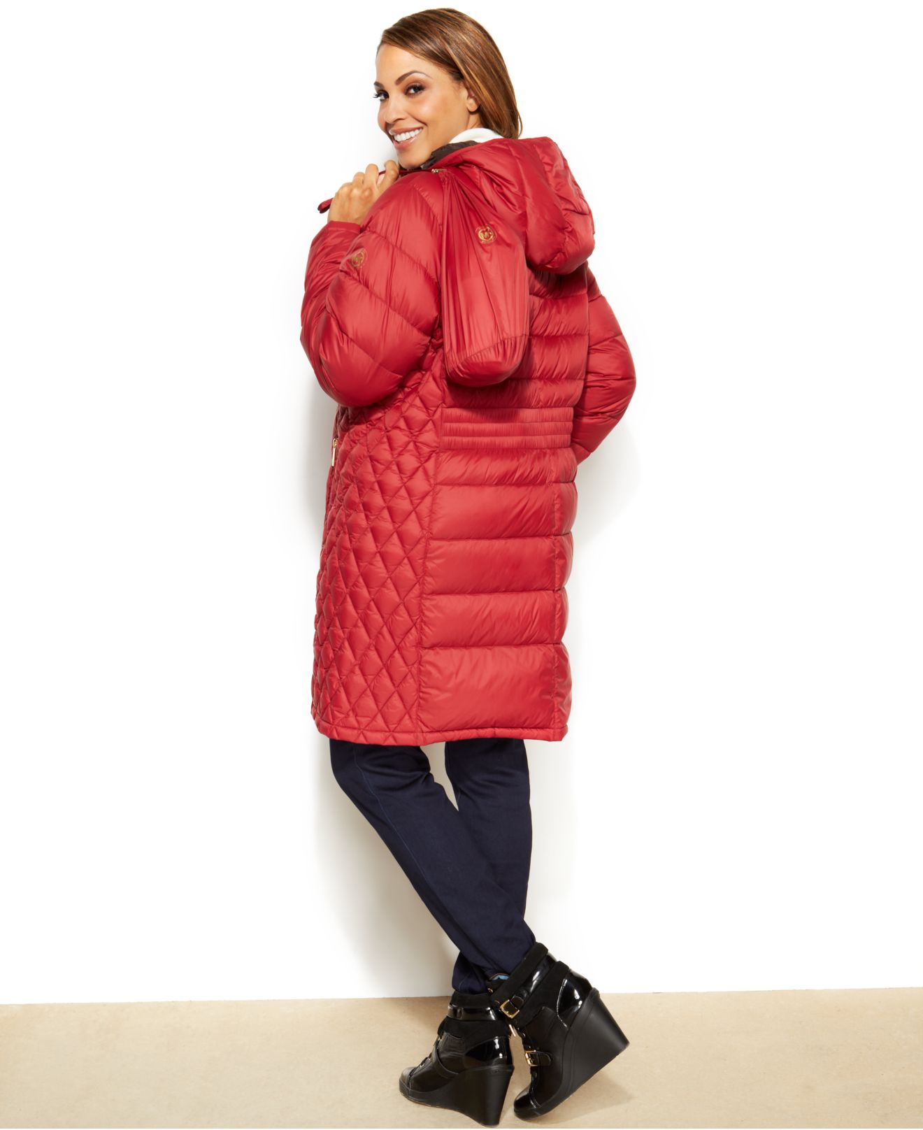 ea37047d8c4 Michael Kors Michael Plus Size Hooded Quilted Down Packable Puffer ...