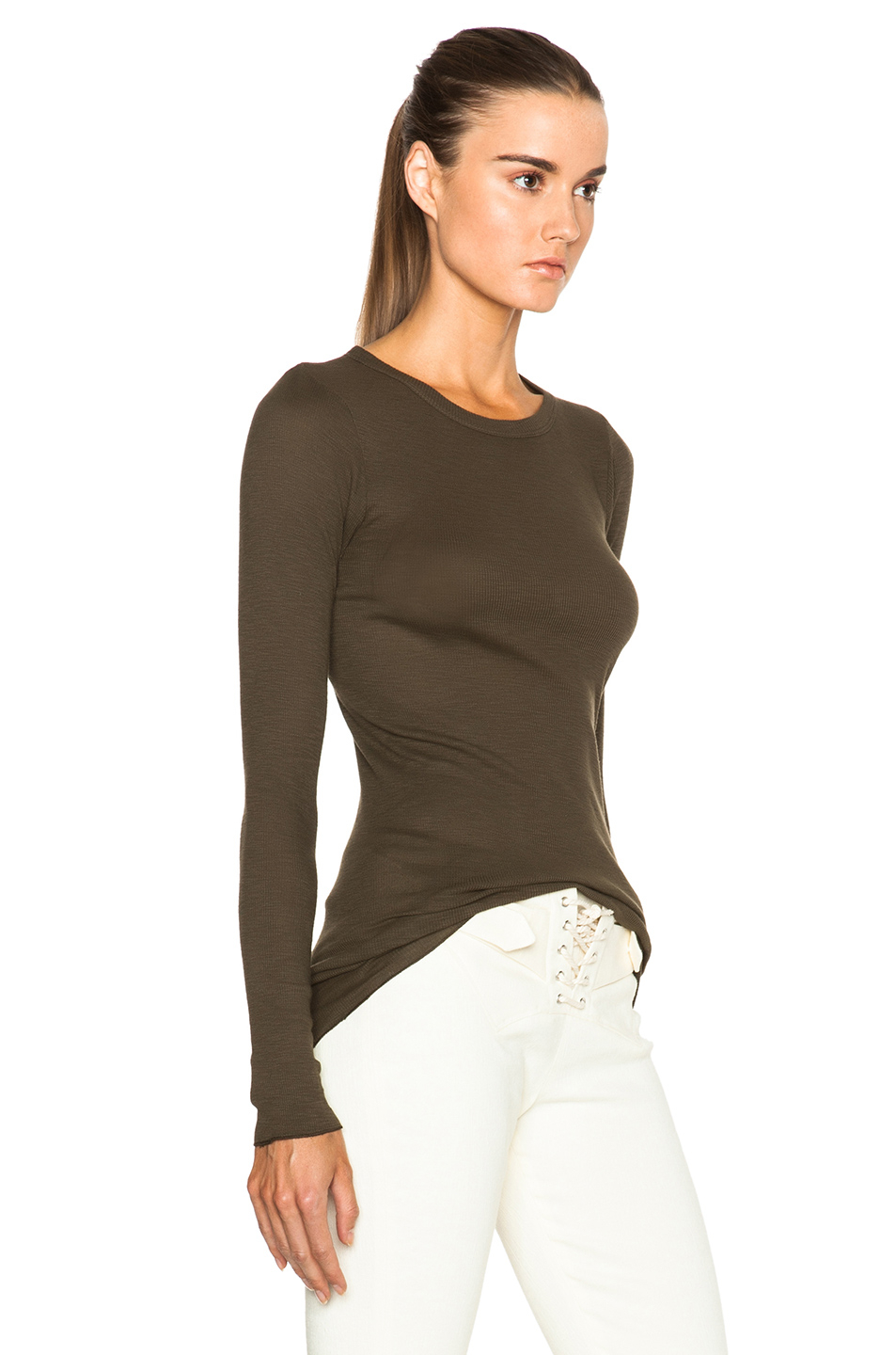 Long Sleeve Drawcord Scoop Top in Black Enza Costa Low Price Cheap Online Best Price New Arrival Cheap Price Outlet Good Selling Get To Buy Online ftjVY4