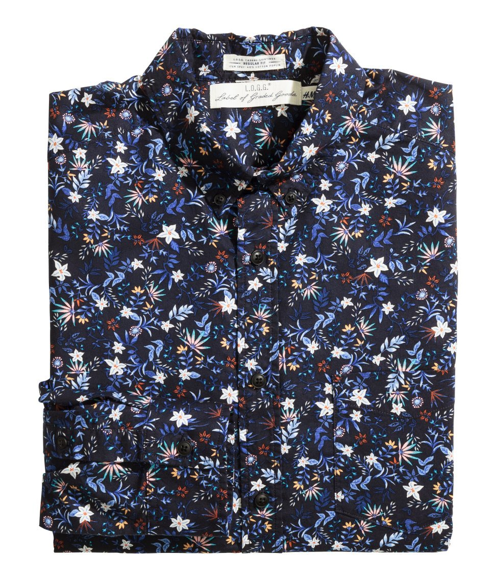 Lyst - H&m Floral Cotton Shirt in Blue for Men