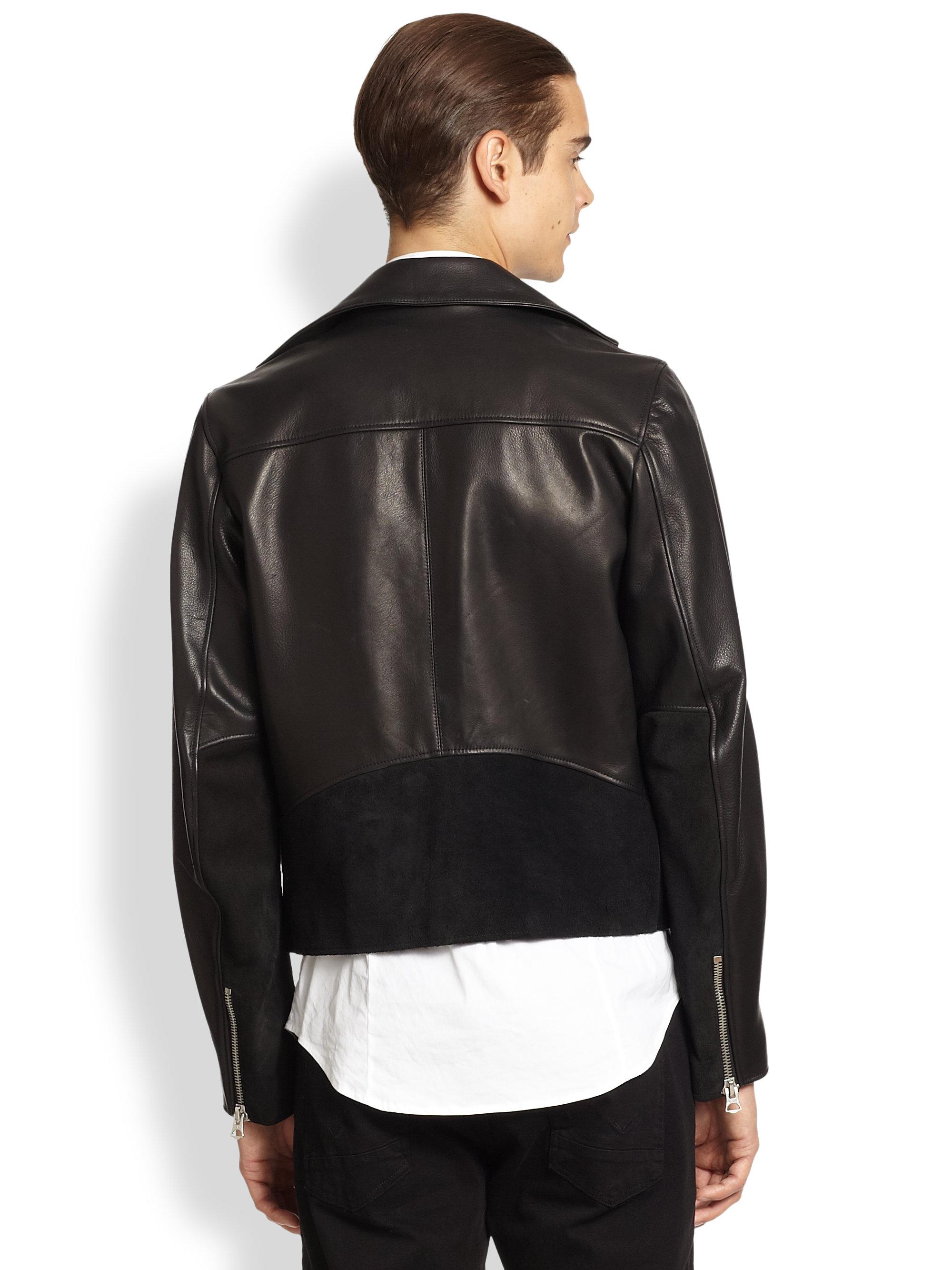 Acne studios Leather Suede Biker Jacket in Black for Men | Lyst