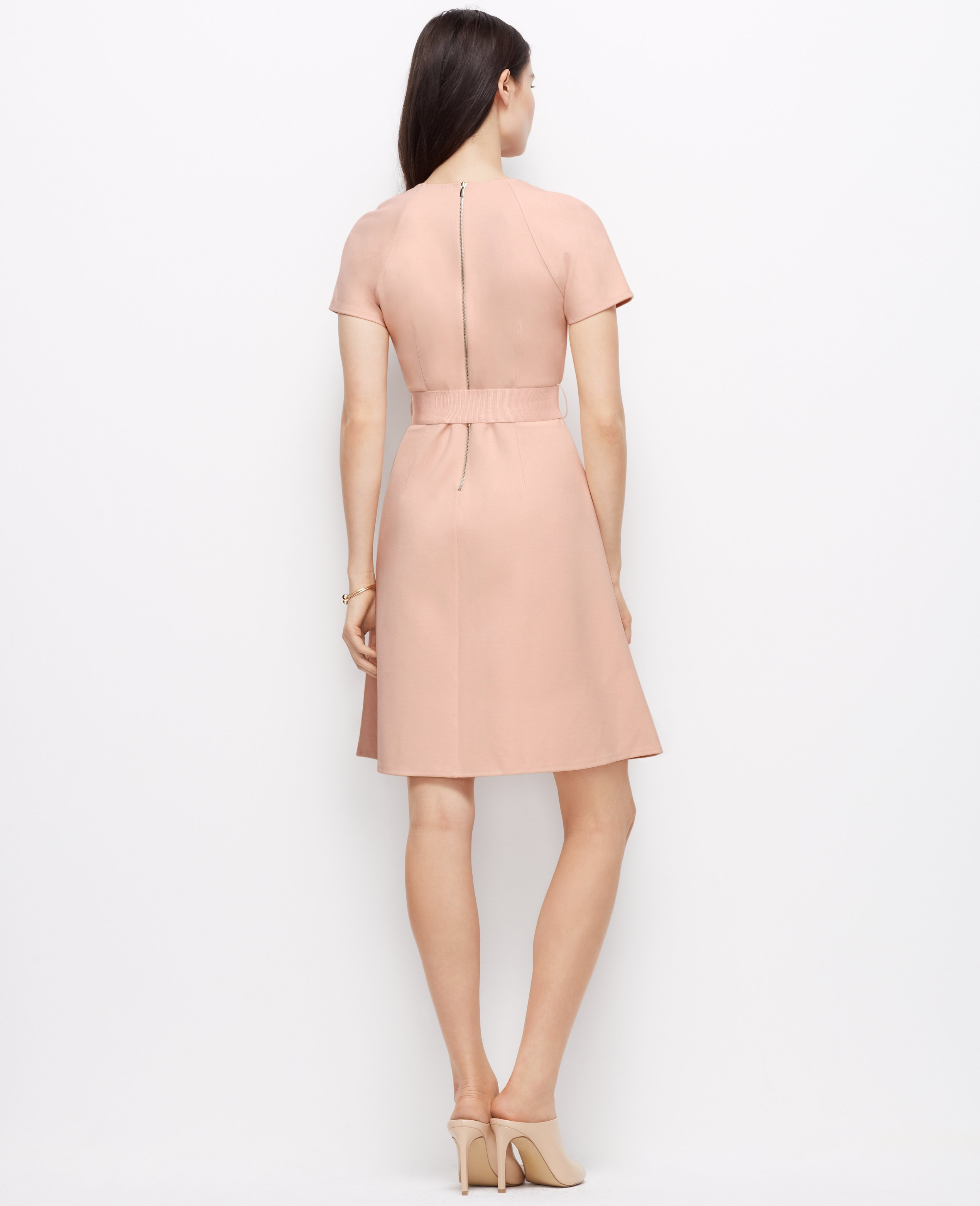 270c4cd40d5f Ann Taylor Petite Belted Ponte Dress in Pink - Lyst