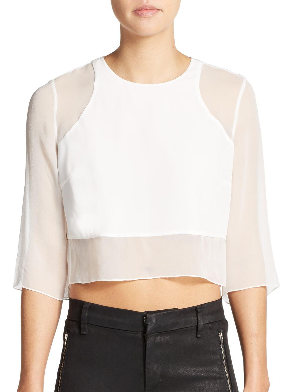 418059f295256 Lyst - Elizabeth and James Enno Silk Crop Top in White