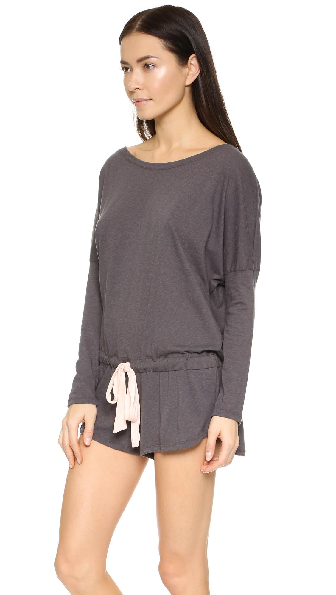 d6d89fc31bbc Lyst - Eberjey Heather Pajama Romper in Gray