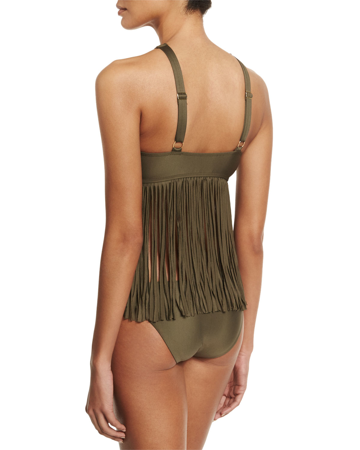 d1a74557b0809 Luxe by Lisa Vogel Fringe Benefits High-neck Tankini Swim Top in ...