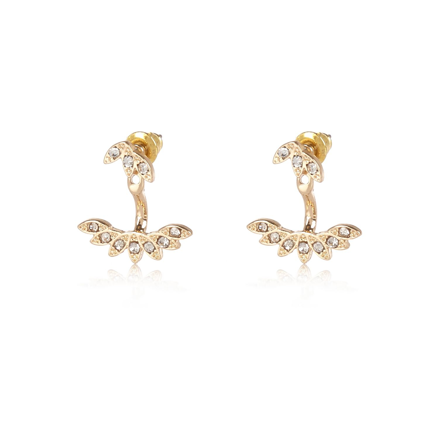 River island Gold Tone Leaf Front And Back Earrings in Metallic   Lyst