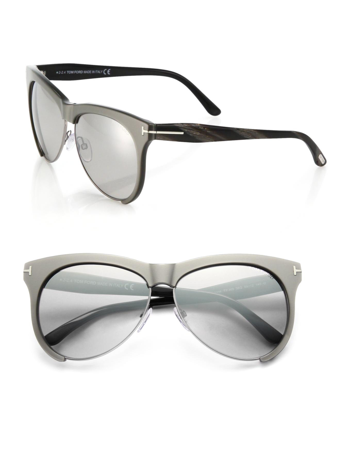 a8c82e1996c9 Lyst - Tom Ford Leona 59mm Aviator Sunglasses in Gray