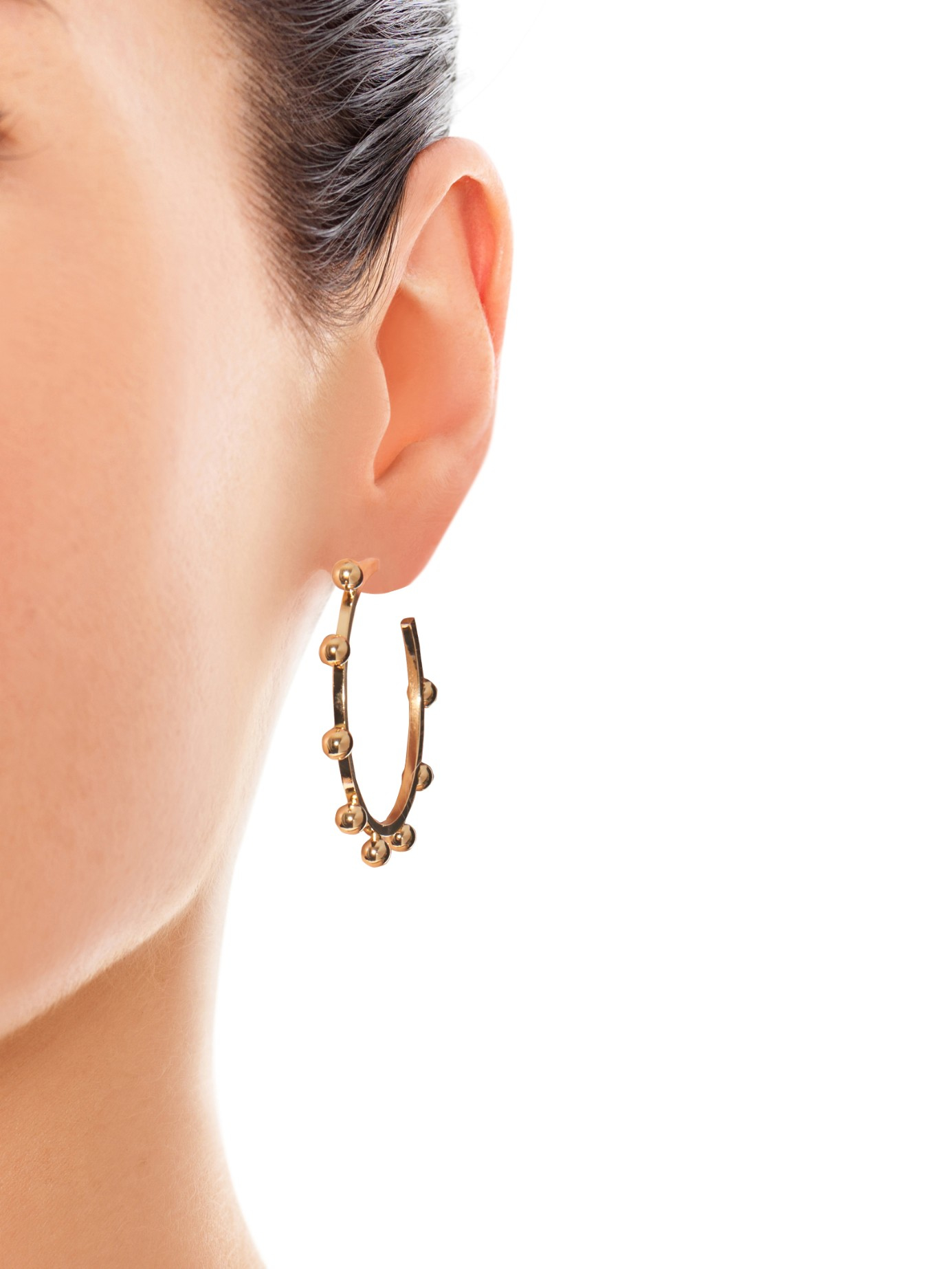 earrings borgo eddie in metallic gold jewelry hoop pyramid gallery lyst product stud normal