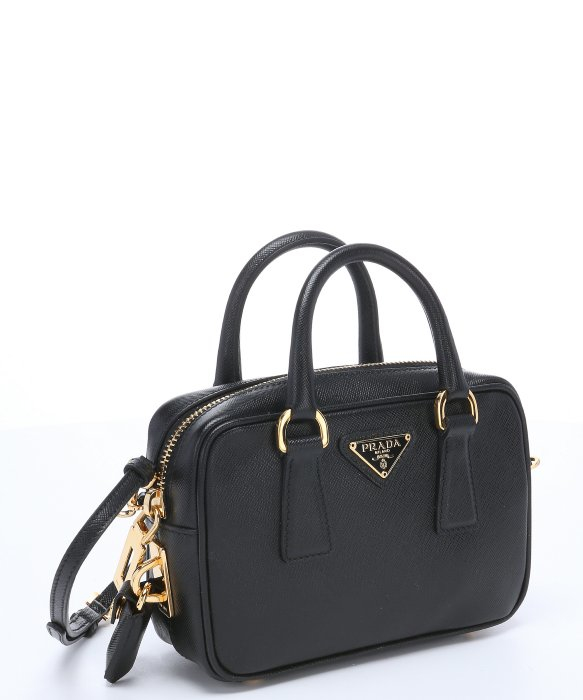 prada black leather clutch - Prada Black Saffiano Leather Mini Convertible Top Handle Bag in ...