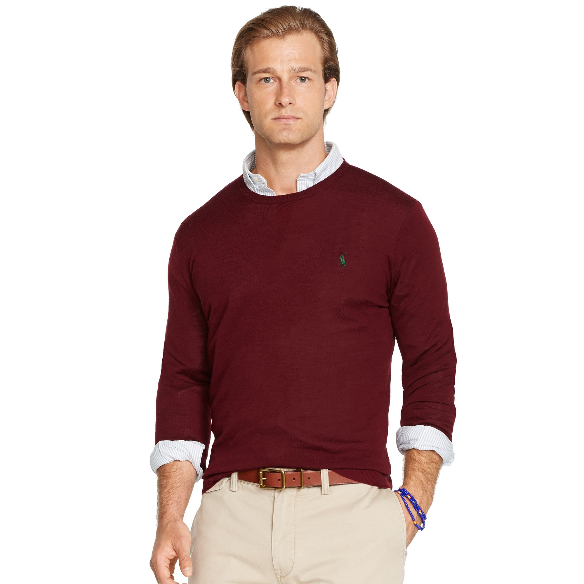 303c8df8a8a Polo Ralph Lauren Slim-Fit Crewneck Sweater in Red for Men - Lyst