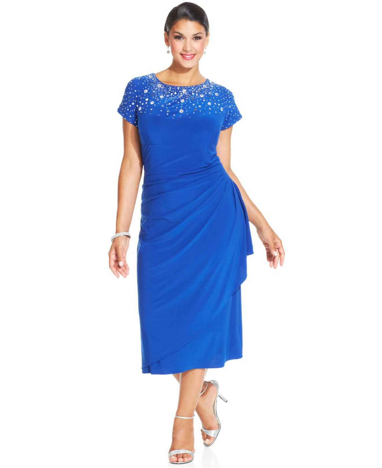 Lyst - Alex evenings Plus Size Beaded Tiered Dress in Blue