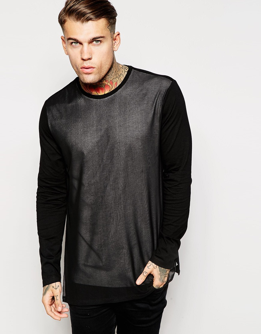 asos longline long sleeve t shirt with mesh panel in black